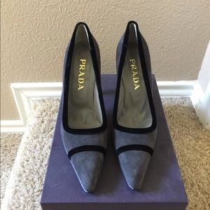 Grey suede Prada heels, black trim